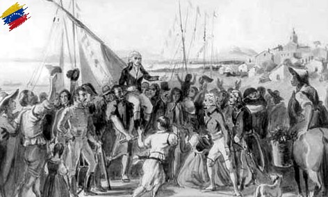 Llegada de Francisco de Miranda a Venezuela