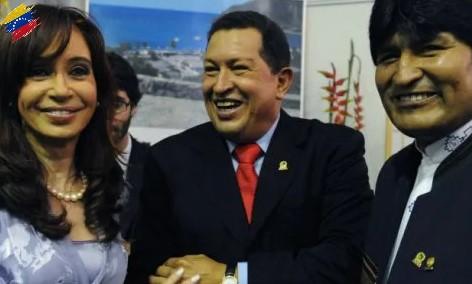 Hugo Chávez, Cristina Fernández de Kirchner y Evo Morales