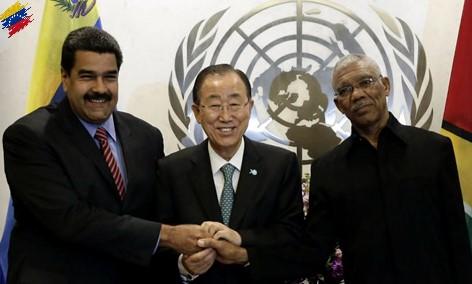 Nicolás Maduro, Ban Ki Moon y David Granger