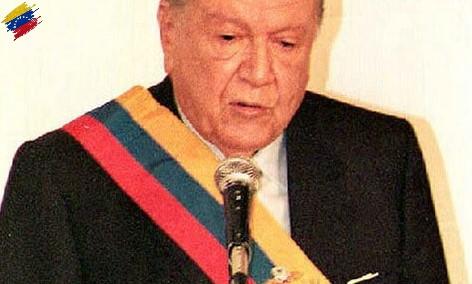 Rafael Caldera pronunciando su discurso inaugural de su segunda presidencia