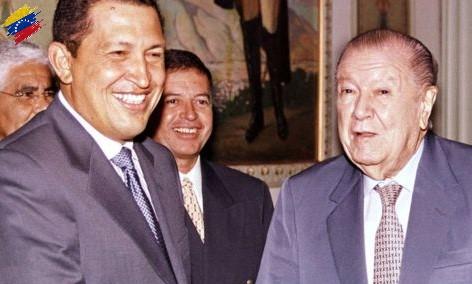 Hugo Chávez y Rafael Caldera